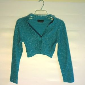 L.A Express size S Small Shrug Turquoise Sparkle